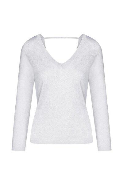W Collection Kadın Beyaz V Yaka Triko