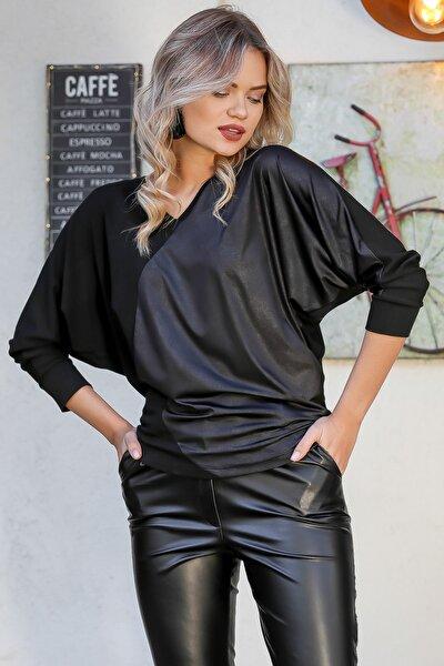 Chiccy Kadın Siyah Kaplama Deri Görünümlü Bloklu Yarasa Kol Bluz M10010200BL95717