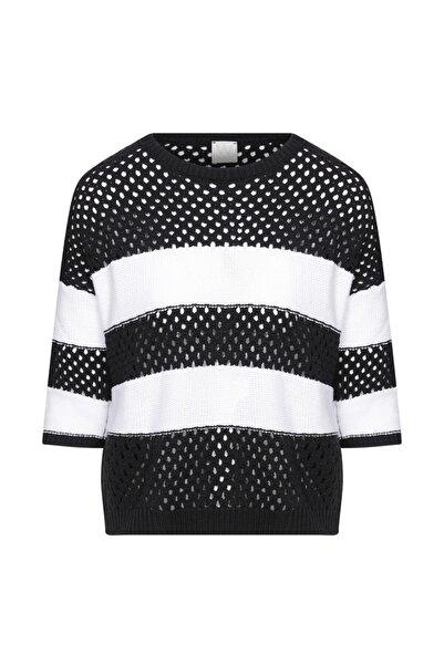 W Collection Kadın Siyah Ajurlu Çizgili Triko Bluz