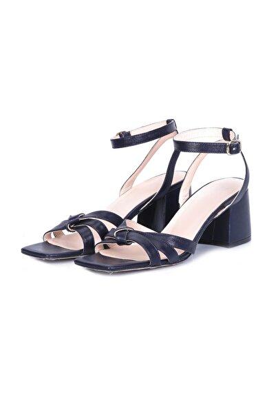 W Collection Kadın Lacivert Deri Kısa Topuklu Sandalet