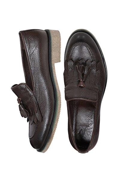 W Collection Erkek Kahverengi Deri Püsküllü Loafer Ayakkabı