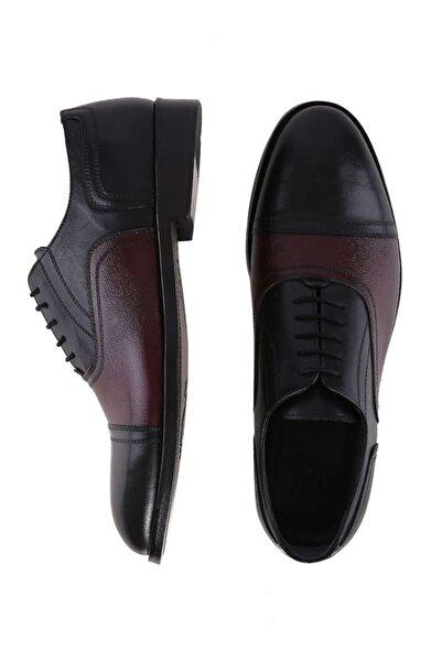 W Collection Erkek Bordo Siyah Deri  Çift Renk Ayakkabı
