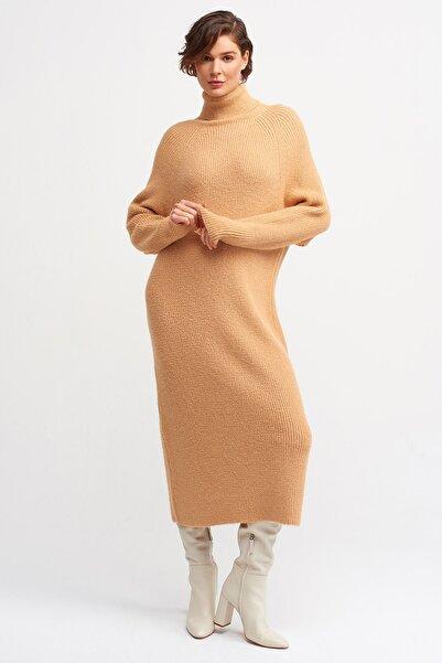 Dilvin Kadın Somon 2924 Balıkçı Yaka Selanik Örgü Elbise 101A02924