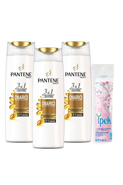 Pantene 3'ü 1 Arada Şampuan + Krem + Bakım Kürü Onarıcı Koruyucu 470 ml x 3 + Makyaj Pamugu Hediye