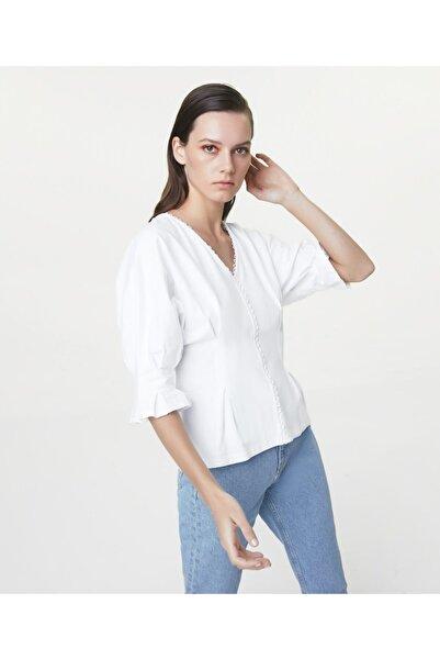İpekyol Kadın Beyaz Güpür Mixli T-shirt IS1200070238002