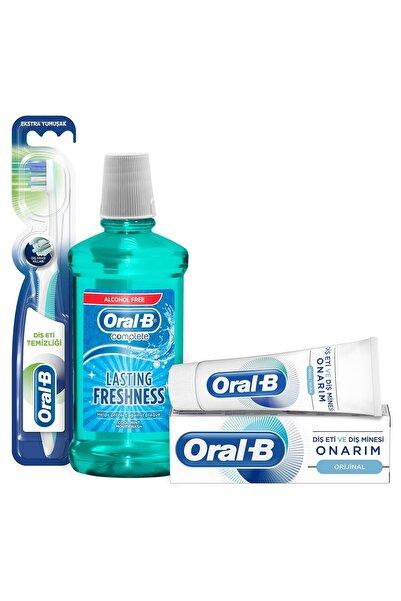 Oral-B Diş Macunu 75 ml + Diş Eti Temizliği Tekli Manuel Fırça + Ağız Çalkalama Suyu  500 ml (Alkolsüz)