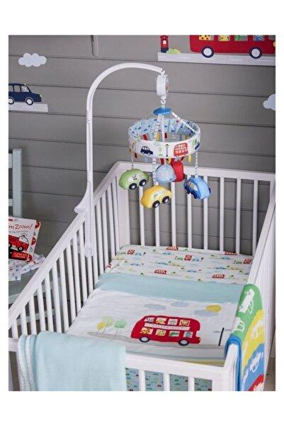 Eflatun Beyaz Pamuklu Ve Lastikli Bebek Çarşafı 2'li