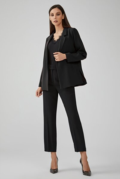 Gusto Kadın Siyah Erkek Yaka Rahat Kesim Astarlı Ceket
