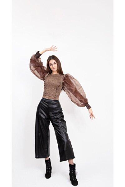 Nisan Triko Kadın Kahverengi  Kolları Balon Tül Detaylı Kazak 40