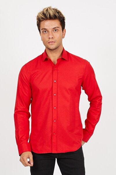 Mc. Grado Pamuklu Slim Fit Oxford Kırmızı Gömlek
