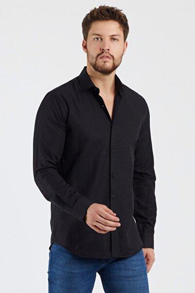 Mc. Grado Pamuklu Modern Fit Oxford Siyah Gömlek