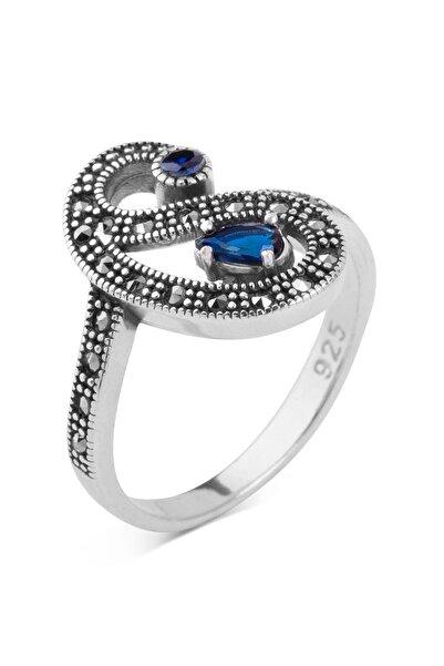Anı Yüzük 925 Ayar Gümüş Özel Tasarım Mavi Taş Detaylı Bayan Yüzük