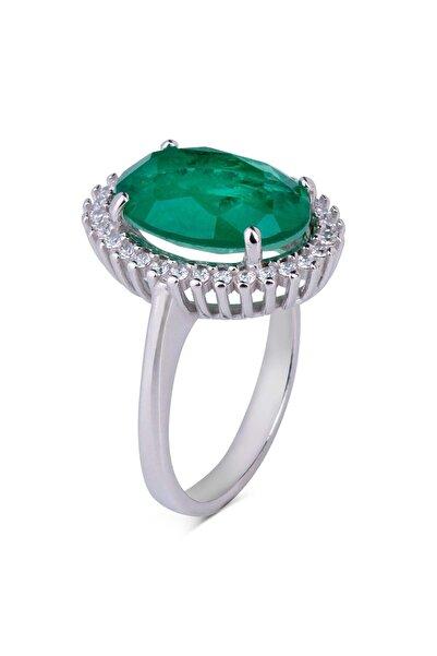Anı Yüzük 925 Ayar Gümüş Yeşil Paraiba Taşlı Oval Kadın Yüzük