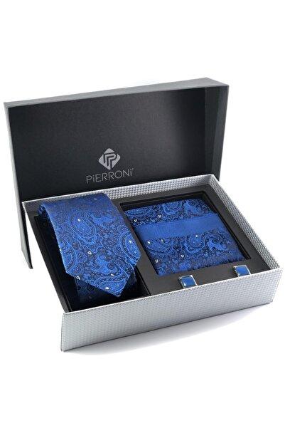 PİERRONİ Saks Mavi Şal Desen Kol Düğmesi Kombin Hediye Set