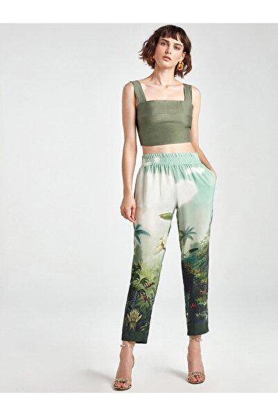 Nocturne Kadın Yeşil Desenli Havuç Pantolon