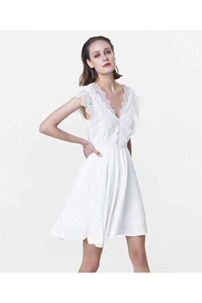 İpekyol Kadın Kırık Beyaz Güpür Mixli Elbise