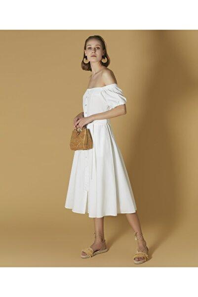İpekyol Kadın Beyaz Düşük Omuz Elbise
