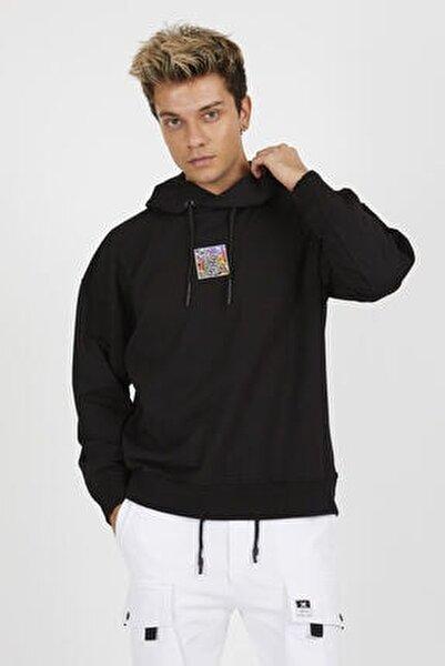 Erkek Siyah Baskılı Kapüşonlu Oversize Sweatshirt