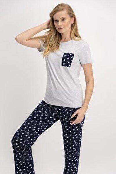 Kadın Gri Kısa Kol Pijama Takımı Ar881