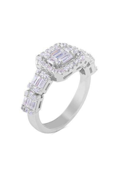 Anı Yüzük ?925 Ayar Gümüş Zirkon Taşlı Özel Tasarım Bayan Yüzüğü Gümüş Renk