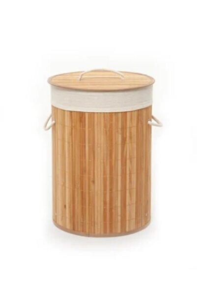 Lorin Katlanır Naturel Oval Banyo Bambu Çamaşır Kirli Sepeti CHK520B