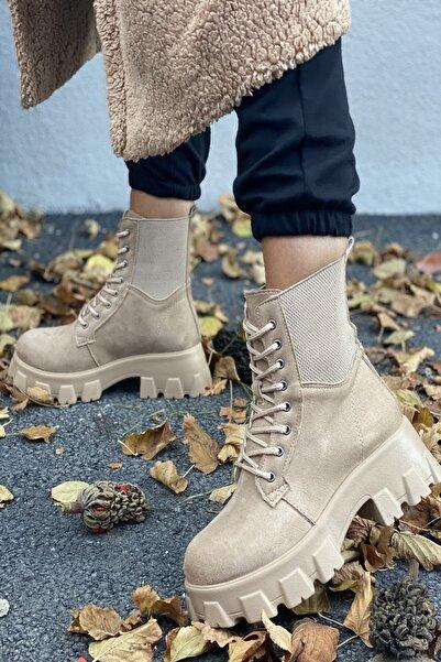 İnan Ayakkabı Kadın Kenarları Örgü Lastik Hafif Tabanlı Bot