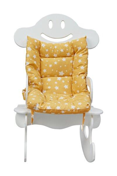 Viviki Beyaz Ahşap  Sarı Minderli Sallanan Sandalye