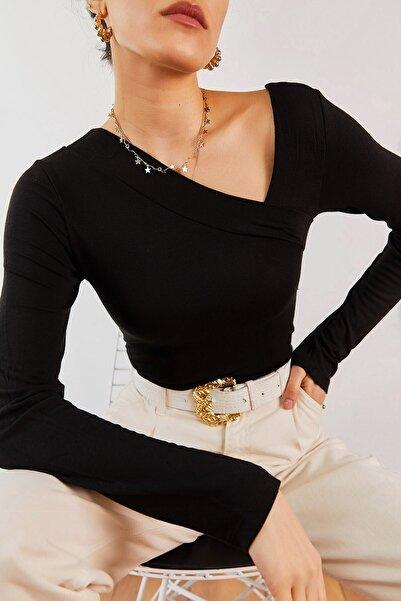 boutiquen Kadın Siyah Japon Style Çapraz Yaka Bluz 10262