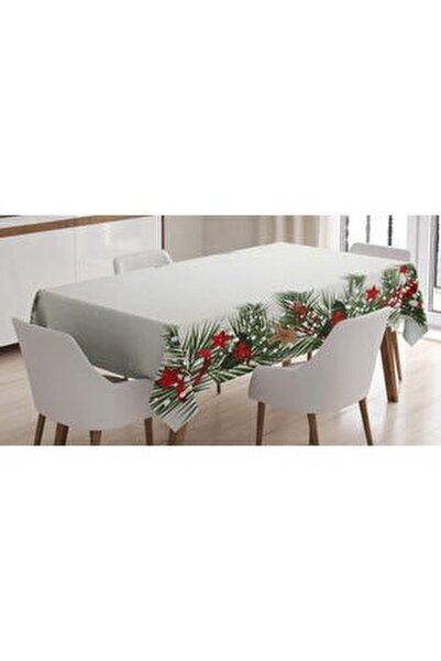 Noel Masa Örtüsü Ombre Yıldızlı Arka Planda Yılbaşı Süsleri Rengirenk