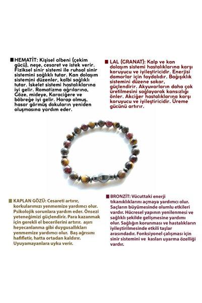 OSMANLI DOĞAL TAŞ Kaplan Gözü-lal (granat)-hematit-bronzit Bileklik
