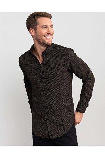 Tudors Erkek Siyah Slim Fit Baskılı Kışlık Gömlek
