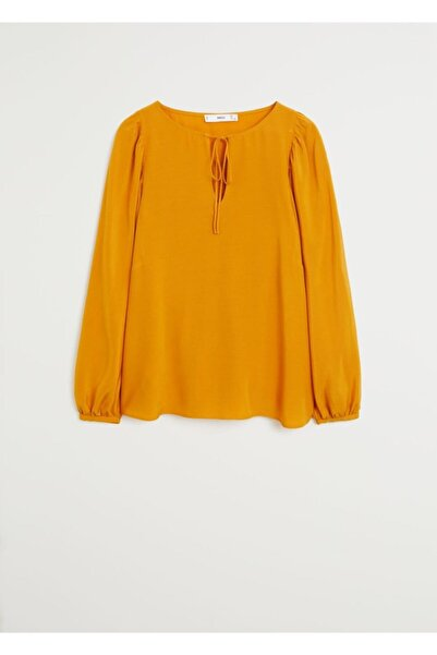 MANGO Woman Kadın Hardal Rengi Balon Kollu Dökümlü Bluz 67025929