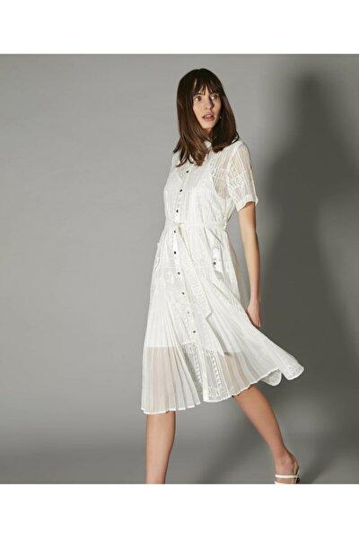 İpekyol Kadın Beyaz Pilise Mixli Elbise IS1200002486096