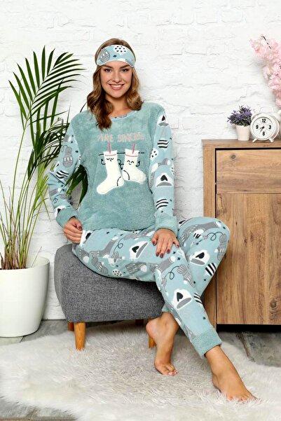 nisaNCa Kadın Yeşil  Polar Peluş Pijama Takımı