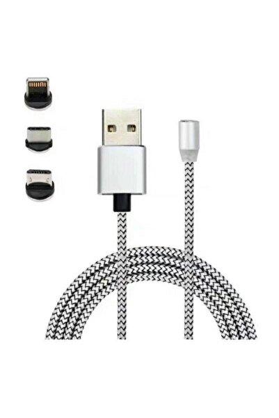 Mmctech Iphone Android Samsung Manyetik Mıknatıslı Micro Usb Type-c Uyumlu Şarj Kablosu