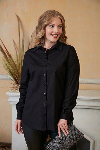 RMG Kadın Siyah Büyük Beden Pamuk Gömlek