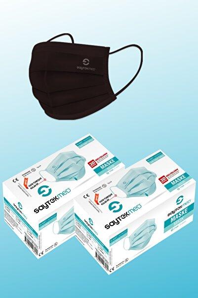 SAYTEKMED Meltblown Filtreli Yassı Ipli Siyah Maske 2 Kutu/100 Adet