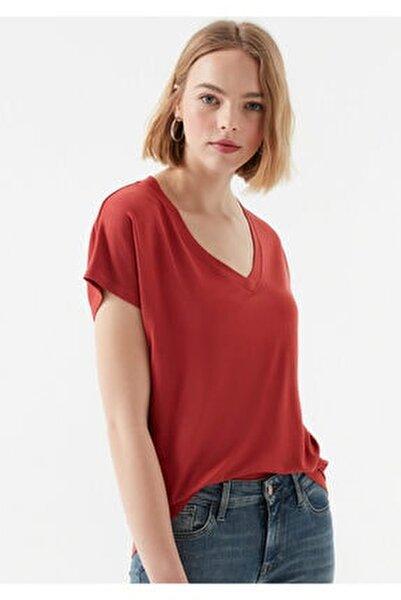 V Yaka Kiremit Basic Tişört