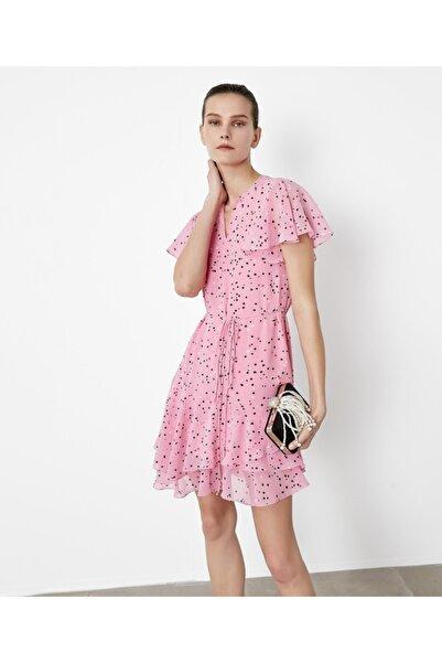İpekyol Kadın Pembe Fırfır Şeritli Elbise IS1200002377033