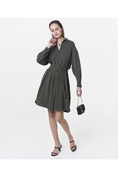 İpekyol Kadın Haki Kuşaklı Elbise