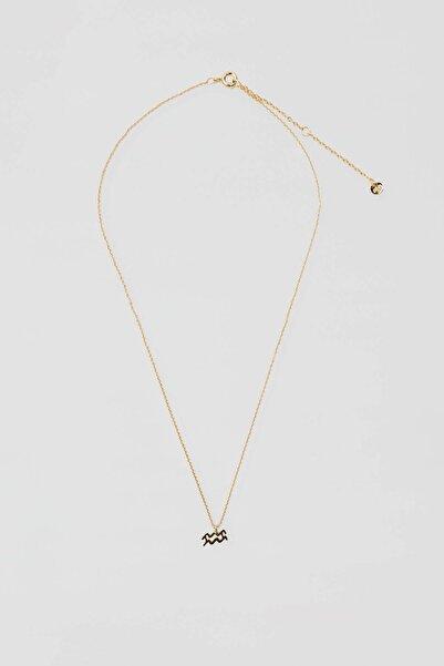 Pull & Bear Kadın Altın Rengi Kova Burcu Uçlu Kolye 04991313