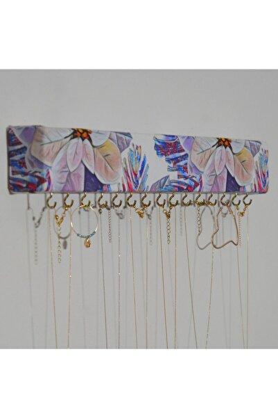 Sunbross Design Dekoratif Takı Askısı Lila Desenli Kumaş Takı Askısı Duvar Tipi Takı Organizeri Düzenleyici Askı