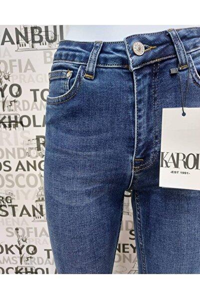 KAROL Kadın Mavi Yüksek Bel Jean
