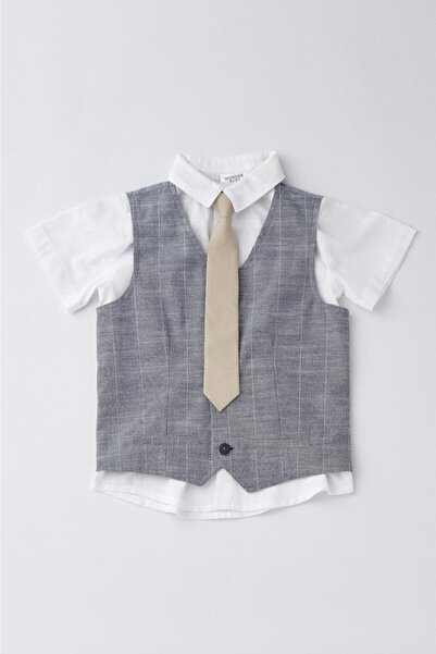Wonder Kıds Erkek Çocuk 3'lü Üst Takım Gömlek Kravat Yelek Wk19ss7255