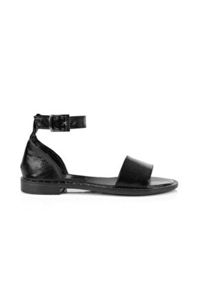 Kadın Siyah Düz Tabanlı Sandalet