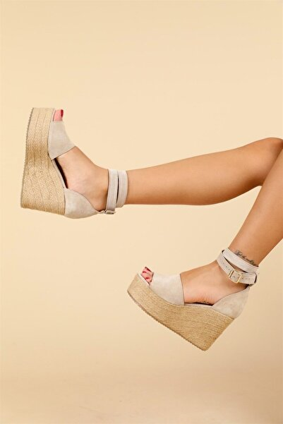 Oblavion Kadın Bej Galia Hakiki Deri Dolgu Topuklu Ayakkabı