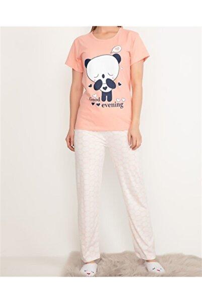 Oblavion Kadın Pembe Panda Desenli Kısa Kol Pijama Takımı