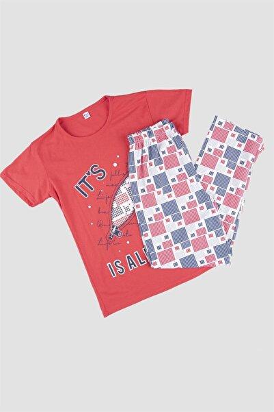 Oblavion Kadın Kırmızı Kısa Kollu Pijama Takımı