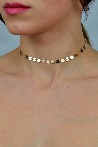 Hane14 Kadın Gold Shine Minik Pullu Zincir Tasma Kolye
