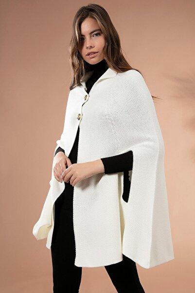 Y-London Kadın Beyaz Triko Panço 5891